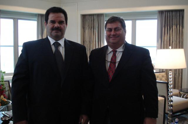 Business discussion, Sheikh Fahad Al Sabah of the Kuwaiti Royal Family  with George M. Sfeir C.E.O. of ENGT in Washington D.C