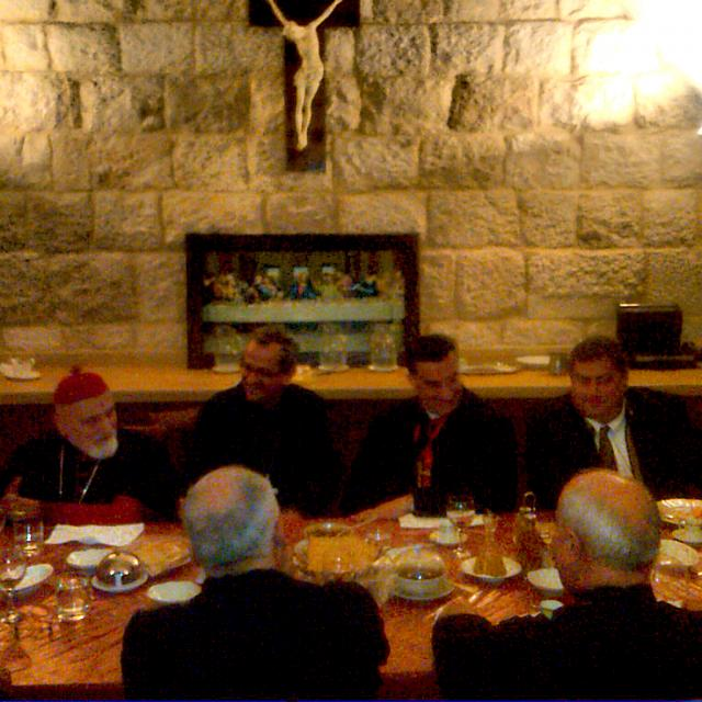 L/R: Cardinal Sfeir, Bishop Paul Rohana, Patriarch & Cardinal El-Rai, and George M Sfier at the dinner at the Patriarchy